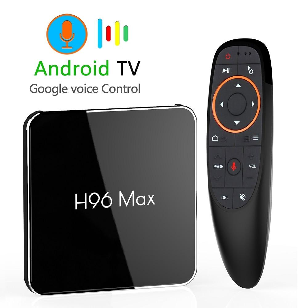 Android 8,1 4 GB 64 GB Amlogic S905X2 LPDDR4 Smart TV caja Dual Wifi H.265 1080 p 4 K USB3.0 h96 MAX X2 Control por voz de Google H96MAX