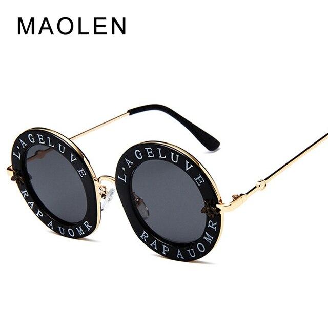 428c6a745278b Retro Rodada Óculos De Sol Das Mulheres Designer de Marca Inglês Letras  Abelha Tons Armação de