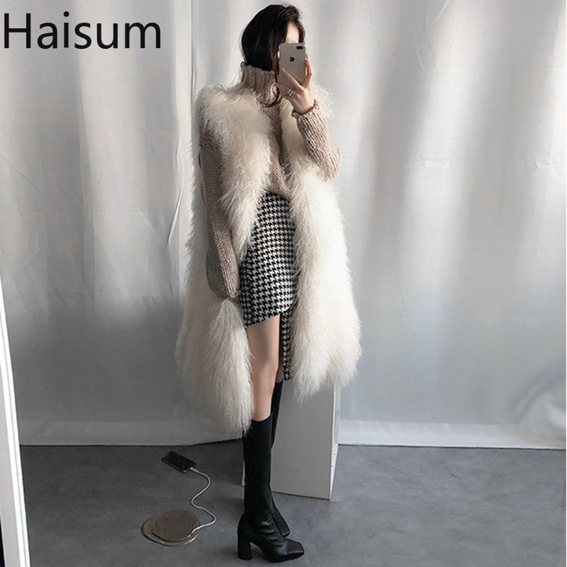 2018 New Fashion Faux Fur Coat Winter Women Casual Slim Sleeveless Faux Fox Fur Vest Winter Jacket Women Casaco Feminino HN237