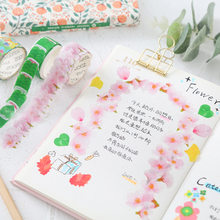 Flower Petals Washi Tape Decorative Masking Tape Cartoon Cat Washi Tape Scrapbooking Diary Paper Stickers Stationery Kawaii(China)