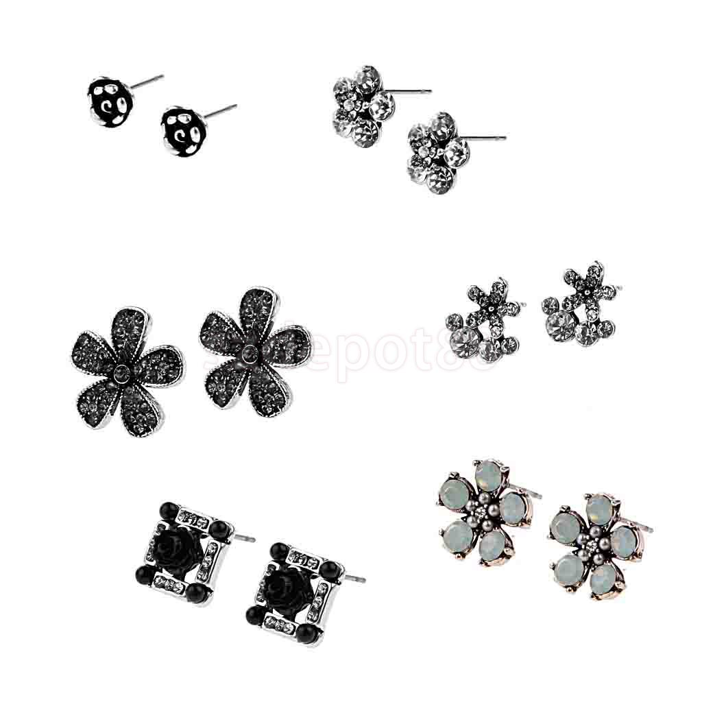 Job Lot of 6 Pairs Antique Silver Crystal Flower Ear Stud Earring Jewelry ...
