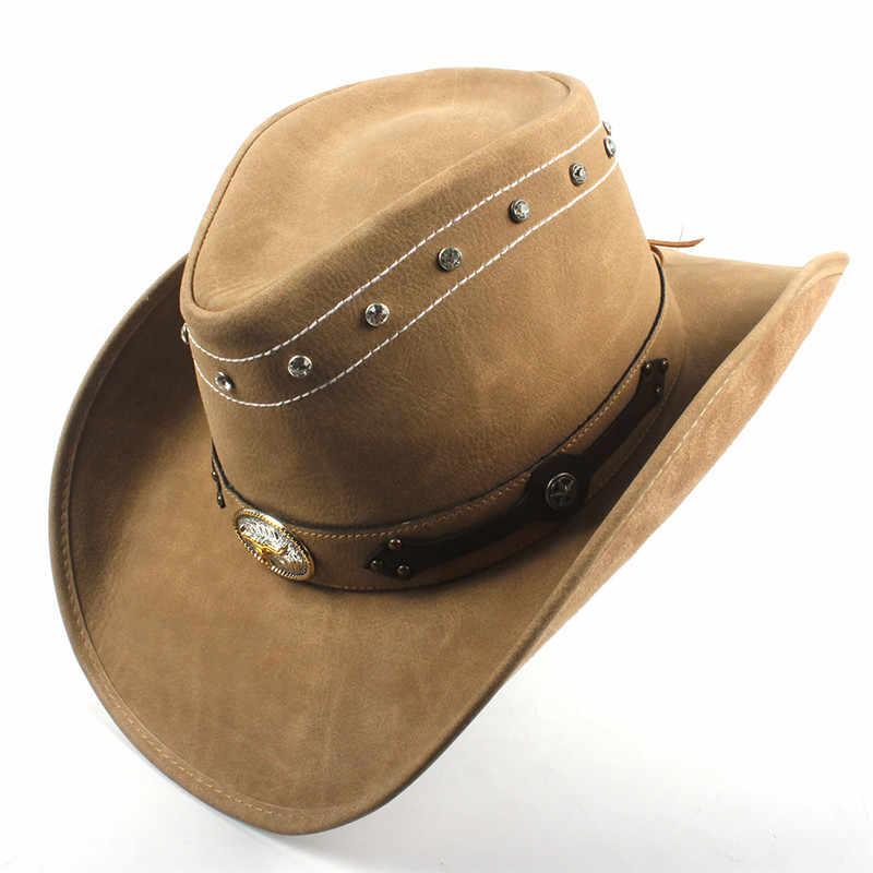 Moda Kadın Erkek Batı kovboy şapkası Baba Için Beyefendi Bayan Fötr Şapka Hombre Caz Caps Ile Tauren Kemer Boyutu 58 CM