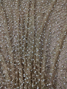 Gold Glitter Fabric | Gold Color Glitter White Beads JRB-12202 African Tulle Lace Fabric For Party Hot Selling Beaded Glued Glitter Lace Fabric