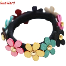 Trendy Style Newest  Flower Mix Candy Color Cute Girl Elastic Hair Ties Band Rope Ponytail 1PC_U00442