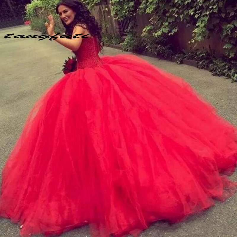 Red Ball Gown Quinceanera Dresses Strapless Beaded Tulle Prom Dress vestidos de 15 anos quinceanera dresses