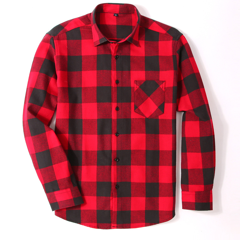 100% Cotton Flannel Men's Plaid Shirt Slim Fit Spring Autumn Male Brand Casual Long Sleeved Shirts Soft Comfortable 4XL 1