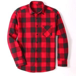 Image 2 - Мужская Фланелевая рубашка в клетку, приталенная Повседневная рубашка из 100% хлопка с длинными рукавами, размеры 4XL, 5XL, 6XL, весна осень