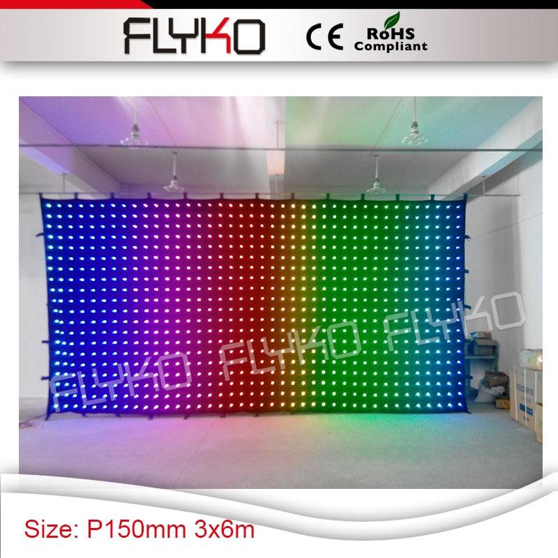 цена на blinking twinking led lights display indoor flexible Pixel 150mm led curtain 3M * 6M video screen