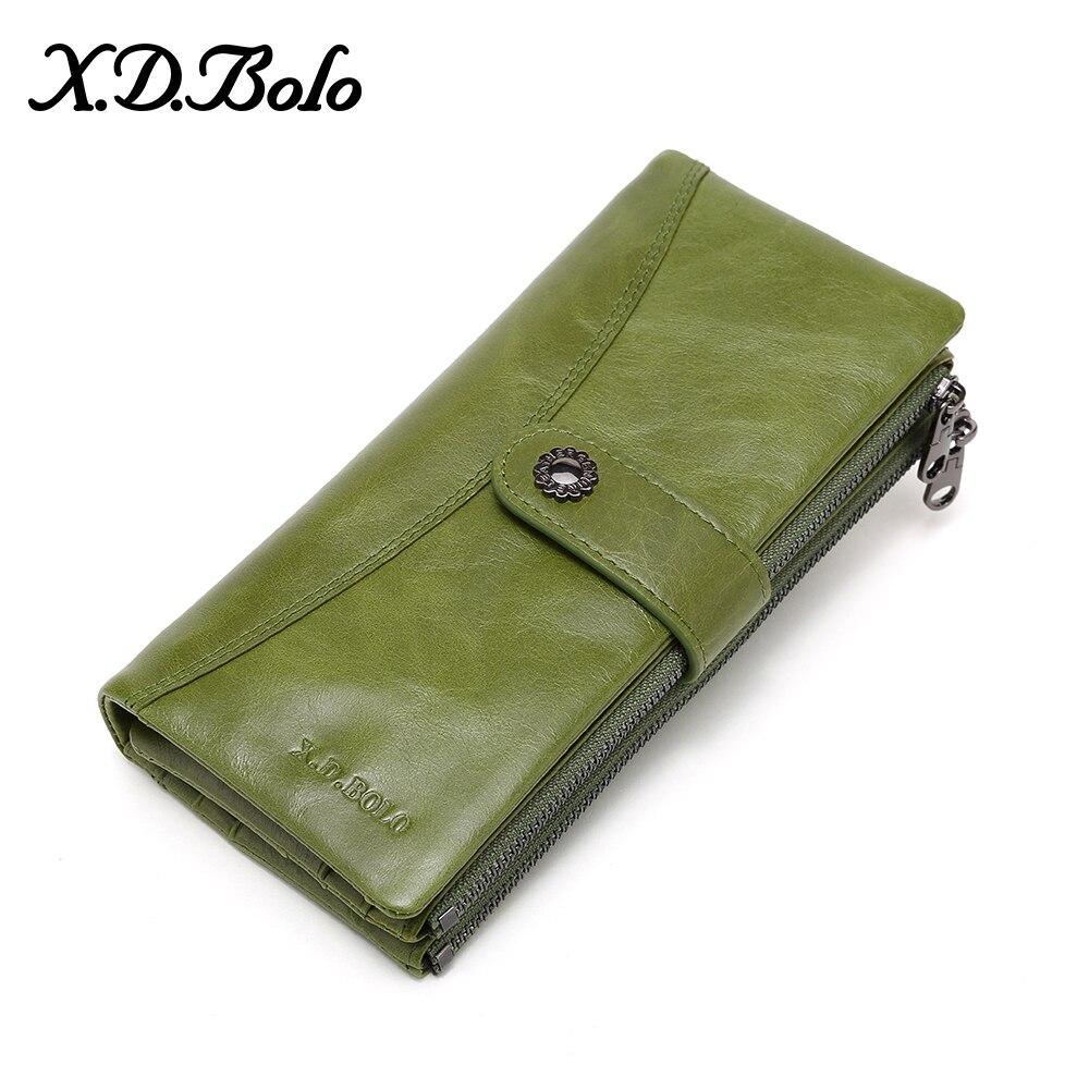 X.D.BOLO New Women Wallet Long Purses Clutch Wallets Female Fashion Phone Purse Card Holder Money Bags Leather Wallets