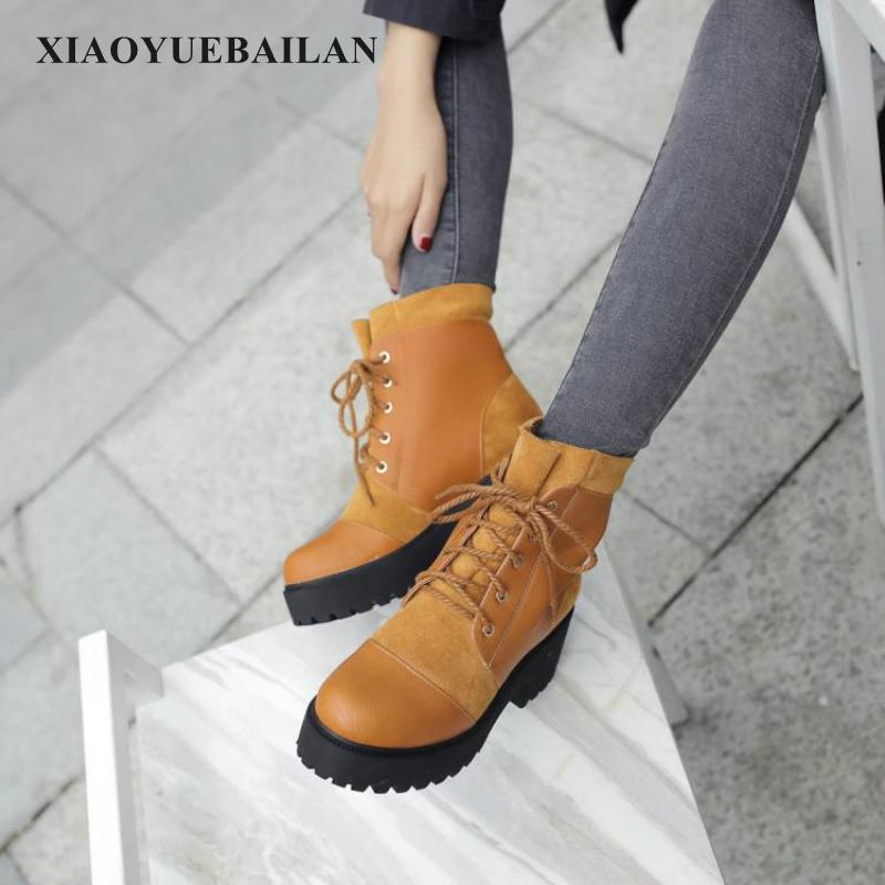 Tie Martin Boots Chunky Warm 2017 Female New Size All-match In Autumn And Winter boots 2017 autumn and winter new coming all match jeans sequined female midlle waist elastic pencil pants female