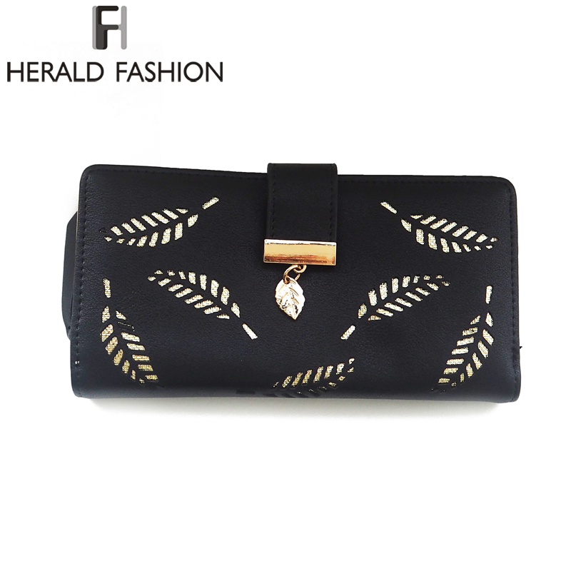 Herald Fashion Women Wallet Leather Card Coin Holder Money Clip Long Phone Clutch Quality Photo Fashion Cash Pocket Female Purse new baellerry pu leather women organizer long wallet bowknot money purse ladies coin phone clutch hand bag card holder pouch box