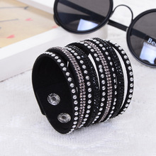 2016 New Products Sell Like Hot Cakes Fashion Charm Double Circle Multilayer Leather Bracelets Men&Bracelet women !Free Shipping