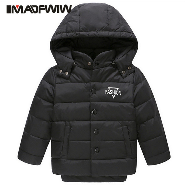 3-9T 2016 New Boys Girls Down Jackets Fashion Hooded Letters Winter Coat Children Sing Breasted Kids Outerwear Hihg Quality