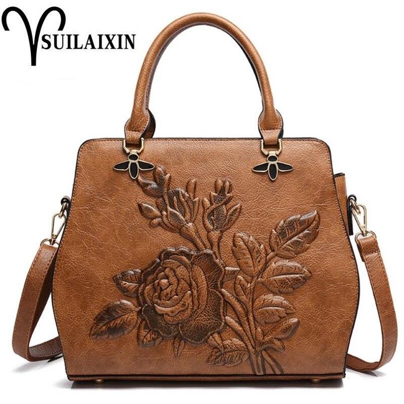 Для женщин дизайнер кожа Хобо ведро сумки Большой Вышивка тиснение печати ретро цветочные сумочка Роскошные сумка Высокое качество