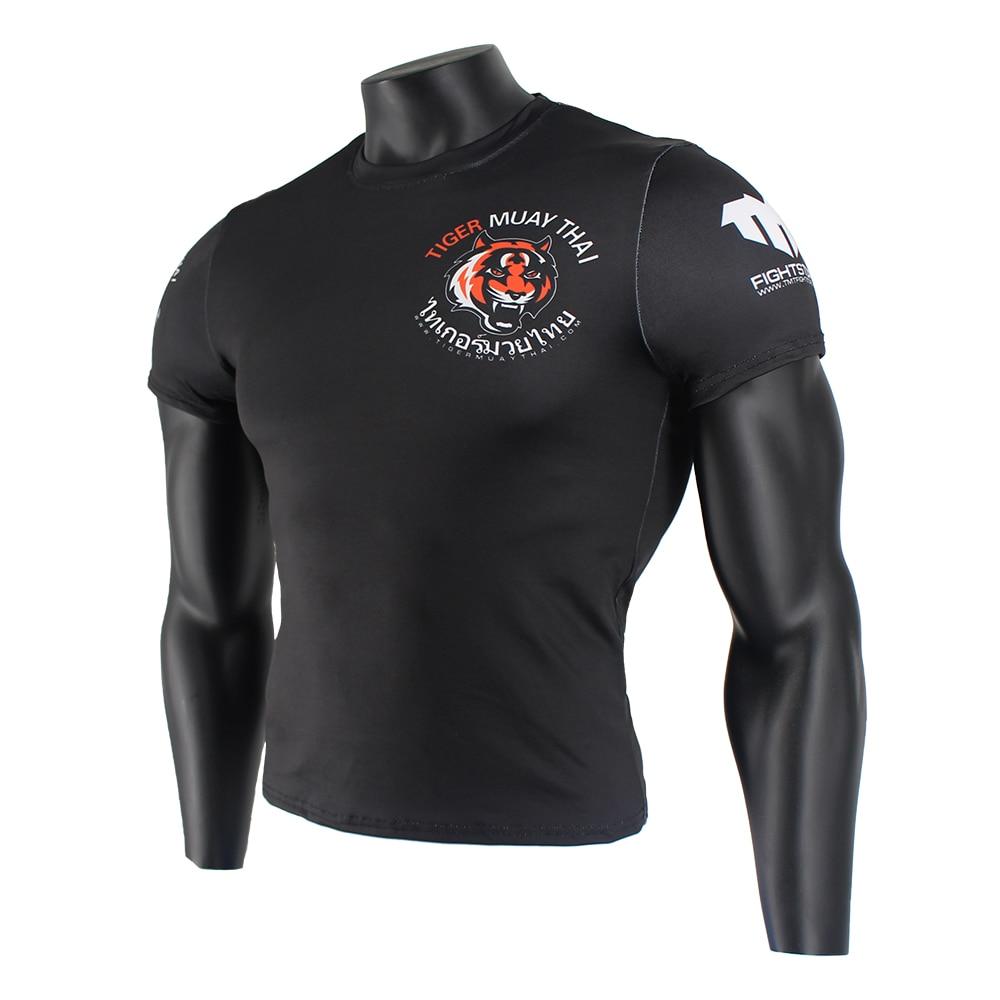 Black Stretch Fabric Fitness Sports Fierce T Shirt MMA Boxing Jerseys Tiger Muay Thai Rashguard Jiu Jitsu Sauna Suit King Boxing