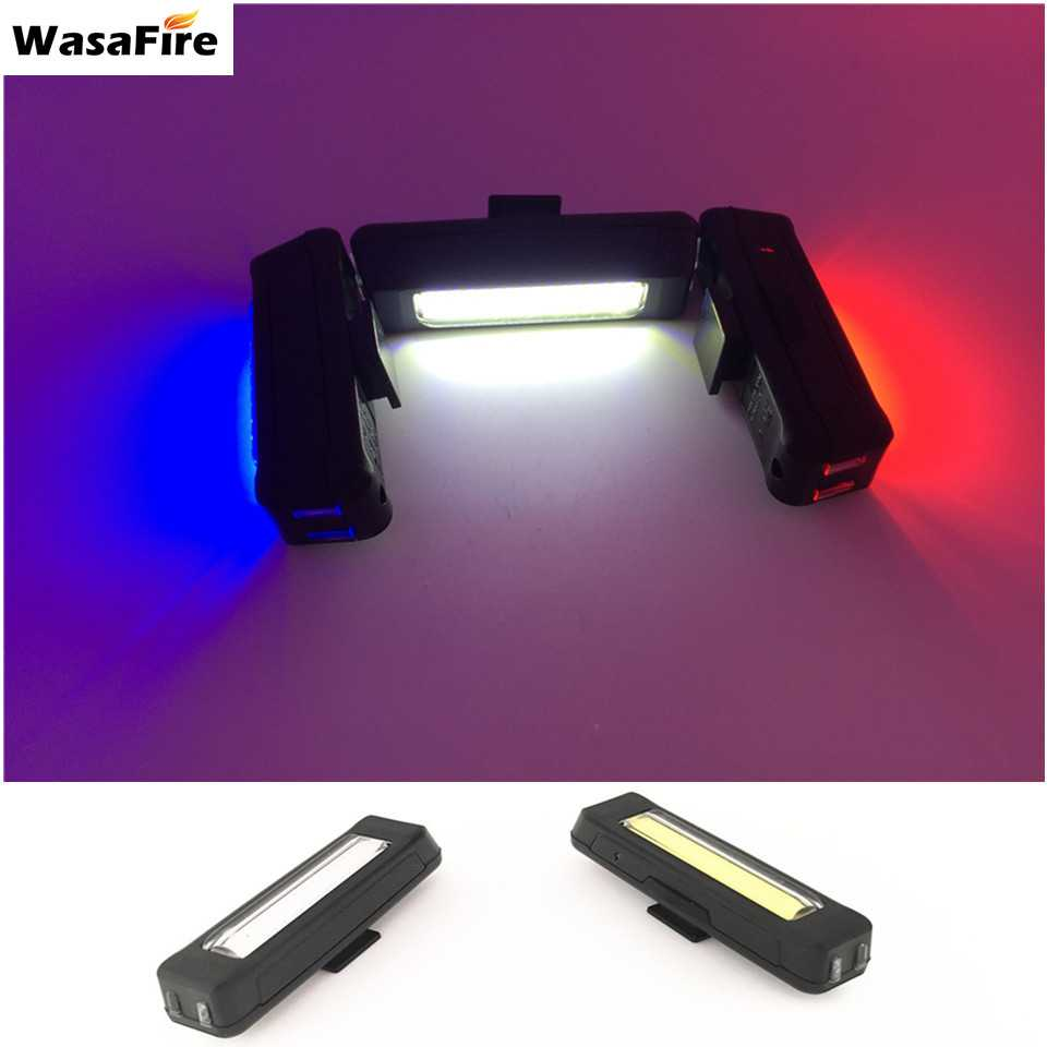 WasaFire Waterproof Comet USB Rechargeable Bicycle Head Light High Brightness 4 Colors LED 100 Front/Rear Bike Safety Light Gift