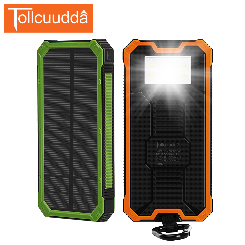 Tollcuudda Solar Power Bank 10000mAh LED PoverBank External Battery Solar Charger Powerbank Portable Charger For All