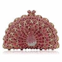 Luxury Crystal Women Handbag Handmade Peacock Women Evening Clutch Bags 2018 Fashion Rhinestone Diamond Wedding Bridal Handbag