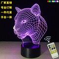 2017 cabeça de leopardo lâmpada de indução lâmpada LED novos produtos de tenda dom 3D visual criativo Night light controle remoto inteligente