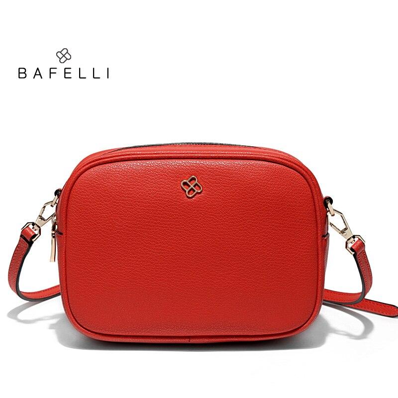 BAFELLI new arrival split leather shoulder bag simple circular bag solid zipper bolsa feminina hot sale red small women bag