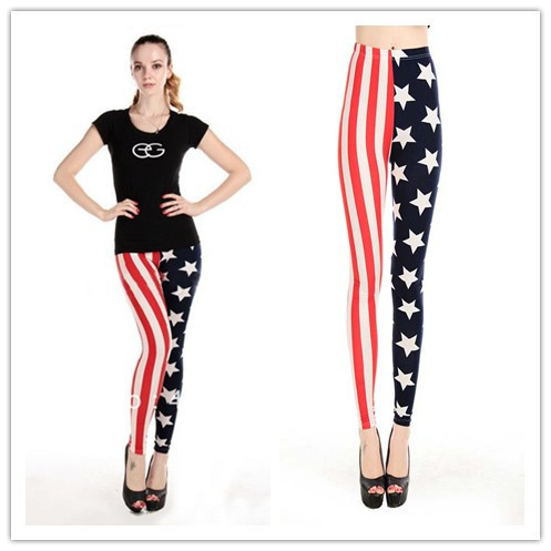 2014 American Flag Vertical stripes and Stars Print Cheap Slim thin Leggings For Women Free Shipping Min.order $10 mix order