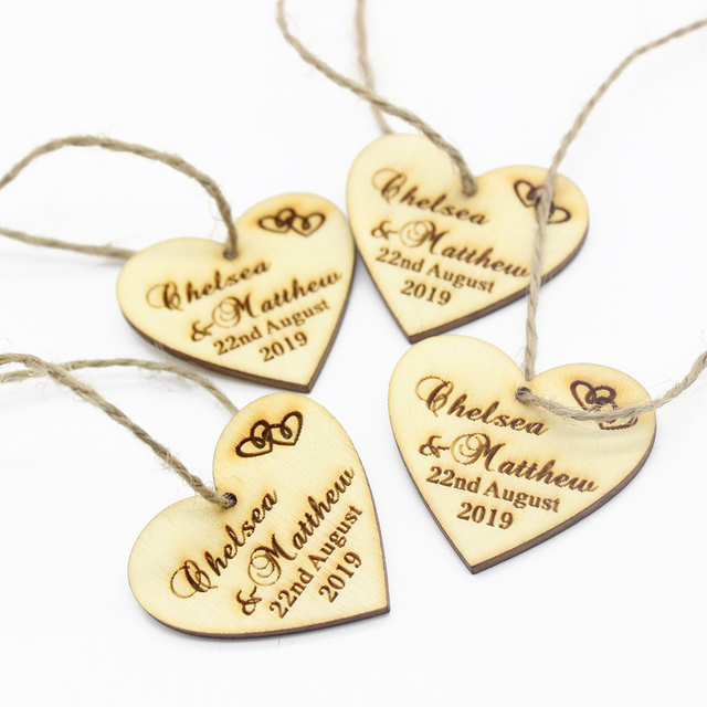 50pcs Personalized Engraved Wooden Love Heart Wedding Favor Tags