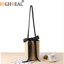 HIGHREAL Raffia Beach Bag Handmade Handbags Straw Baskets Summer Bohemia Holiday Shoulder Bags Market Women Shopping Bag