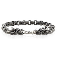 Solid 925 Sterling Silver Bracelet For Men Fashion Textured Cable Chain Dragon Heads Easy S Hook