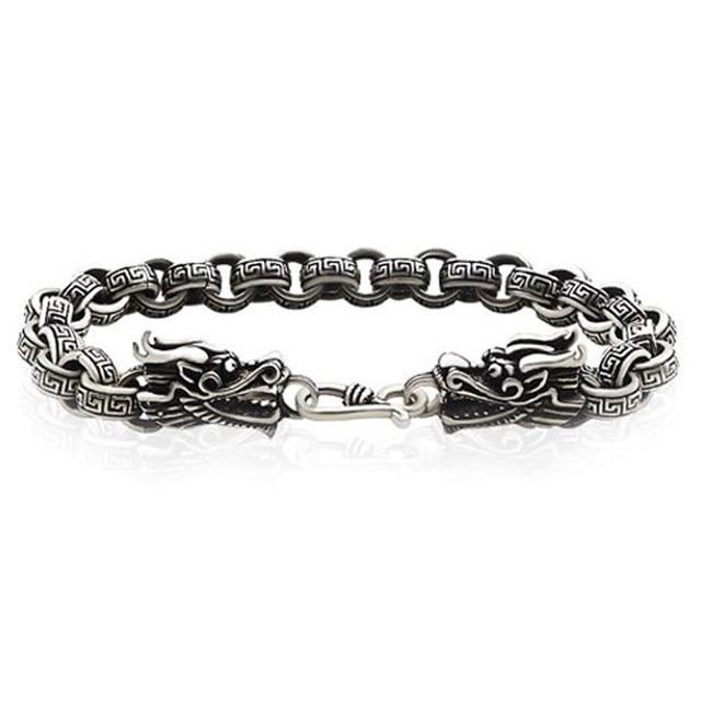 0f2d6ade1d25 € 70.54  Sólido 925 pulsera de plata esterlina para hombres moda cadena  textura cable cabezas de dragón fácil s hebilla gancho plata tailandés ...