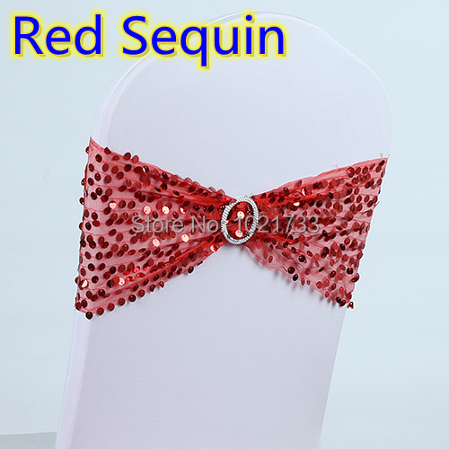 Red colour chair sash with buckle for chair covers lace with sequin lycra band spandex chair sash bow tie wholesale on sale