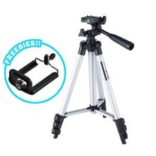 حامل السفر ترايبود الألومنيوم المحمولة خفيفة الوزن العالمي لكاميرا الفيديو مع حقيبة حمل وقاعدة الهاتف المحمول