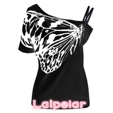 hot deal buy 2018 new summer sexy ladies oblique shoulder t shirt butterfly printed strap short sleeve tops women tops tees plus size