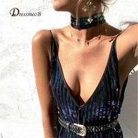 Hot Sale 2016 Christmas Sexy Sequins Dress Women Deep V Neck Straps Party Dress Fashion Elegant