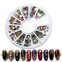 1 Box Fire Color Non-hotfix Nail Art Rhinestones Flat Back Crystal Studs Stones 3D Nails Decorations Manicure