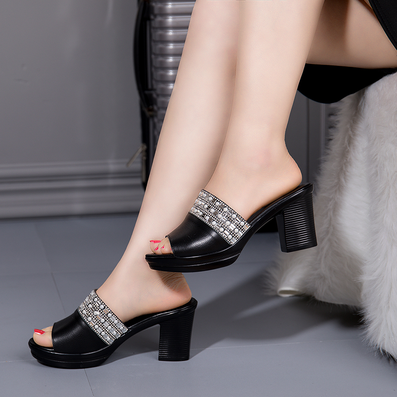 Leather Slippers Female Summer Platform High-heeled Sandals And Slippers New Fashion Slides Outdoor Large Size 40 Women Shoes