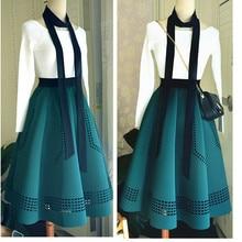 2018 11 Elegant Korean Winter Skirts Womens Hepburn Style Vintage High Waist Tutu Skirt Space Cotton Quality Tutu Free Shipping