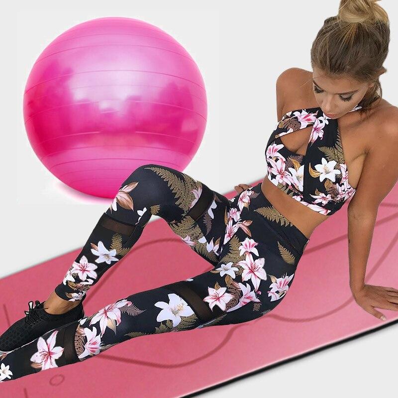 BFUSTYLE Tracksuit For Women 2 Piece Yoga Set Floral Print Female Cross Bra+Mesh Long Pants Sportsuit Gym Fitness Sportswear