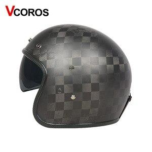Image 5 - VCOROS Brand Carbon fiber Vintage motorcycle Helmet 3/4 Retro Motorbike helmet open face moto helmets ECE approved