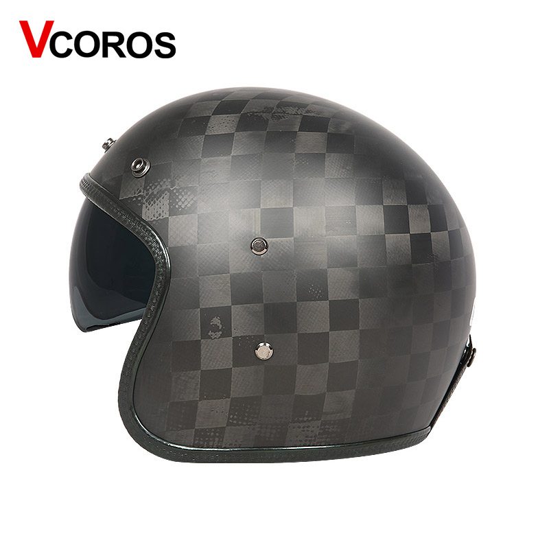 Image 5 - VCOROS бренд углеродного волокна Винтаж moto rcycle шлем 3/4 Ретро мото rbike шлем с открытым лицом мото шлемы ECE утвержден-in Шлемы from Автомобили и мотоциклы