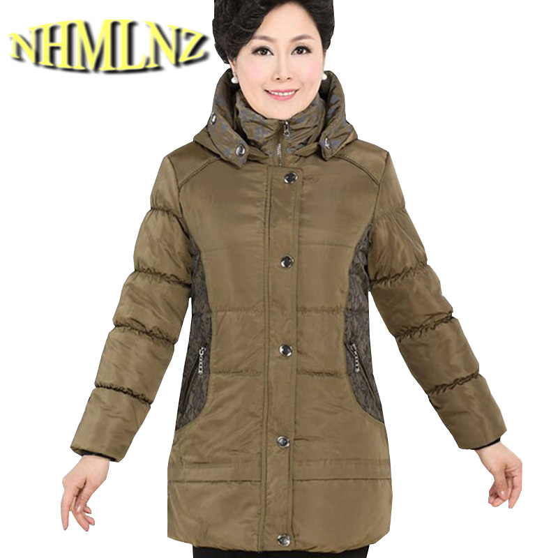 Winter New Middle-aged Women Cotton-padded Hooded Long sleeve Splicing Medium long Coat Big yards Thick Warm Cotton Coat G1913 2017 new winter fashion women down jacket hooded thick super warm medium long female coat long sleeve slim big yards parkas nz18