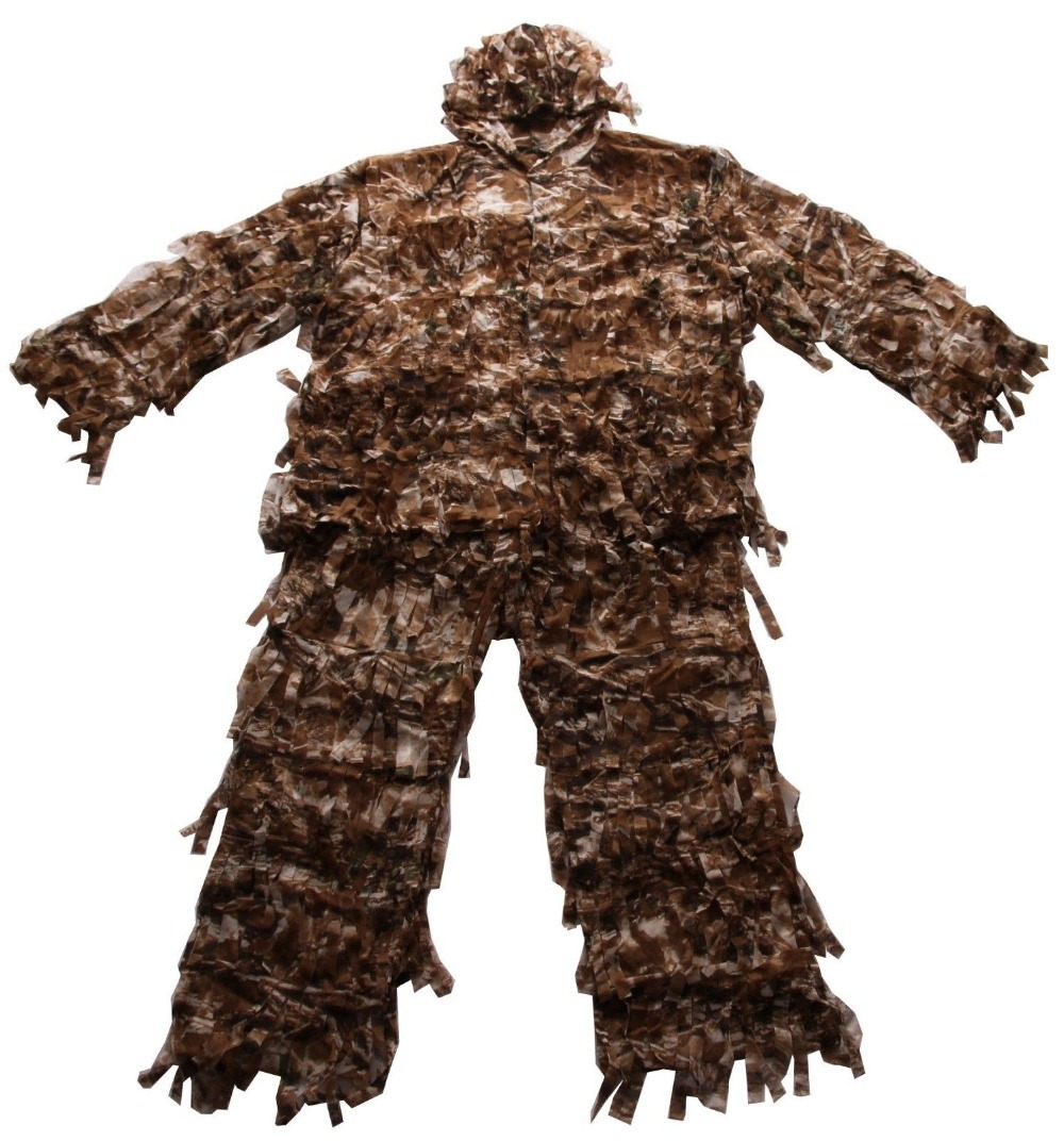 Size M/L 3-D Premium Hunting Net Camo Suit Double The Leaf Ghillie Suit Camouflage clothing or fabric camouflage leaf headgear