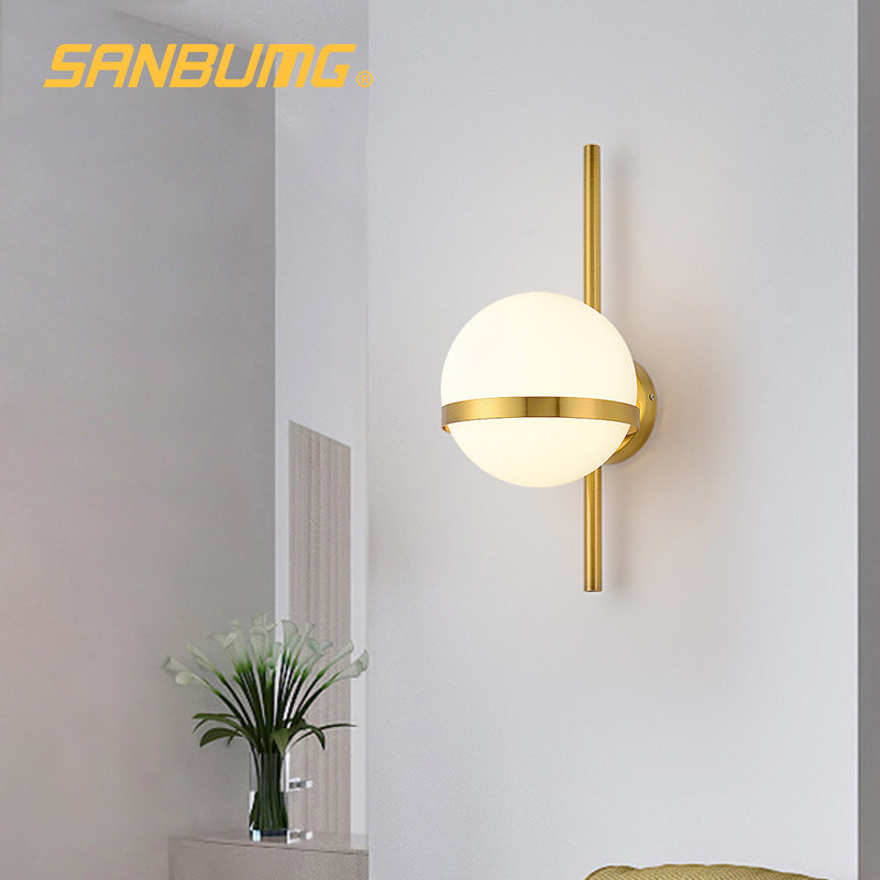 SANBUMG Nordic Wall Light Modern Creative Glass Wall Sconce Round Moon Bedside Lamp Living Room Corridor Wrought Iron Lighting