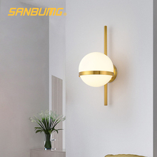SANBUMG Nordic Wall Light Modern Creative Glass Wall sconce Round moon Bedside Lamp Living Room Corridor