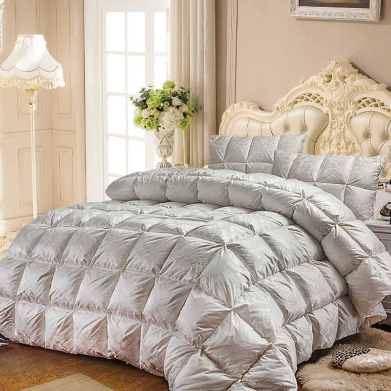 white goose down quilt luxury quilting duvet winter comforter solid color linens twin queen king. Black Bedroom Furniture Sets. Home Design Ideas