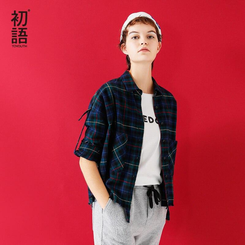 Toyouth Vintage Plaid Long Sleeve Shirts For Women 2018 Autumn Fashion Double Big Pockets Blouse Loose Tassel Hem Shirts Female