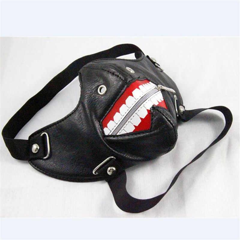 Новая маска для костюмированной вечеринки в стиле японского вурдалак 2 Kaneki Ken на молнии, полиуретановый кожаный унисекс, маска в стиле стимпанк, Готическая зимняя теплая маска в стиле ретро