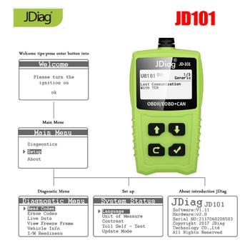 JD101 narzędzie diagnostyczne samochodów czytnik kodów OBD2 skaner motoryzacyjny wina skanowania narzędzia cyfrowe mierniki uniwersalne diagnostyki PK AL319 AL519 AD310 tanie i dobre opinie Testery akumulatora Jdiag JD101 10inch 6inch 8inch 0 2kg Plastic KESS KTAG