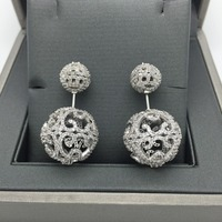 fashion brincos Brand design pave setting cubic zirconia hollow out double balls stud earrings
