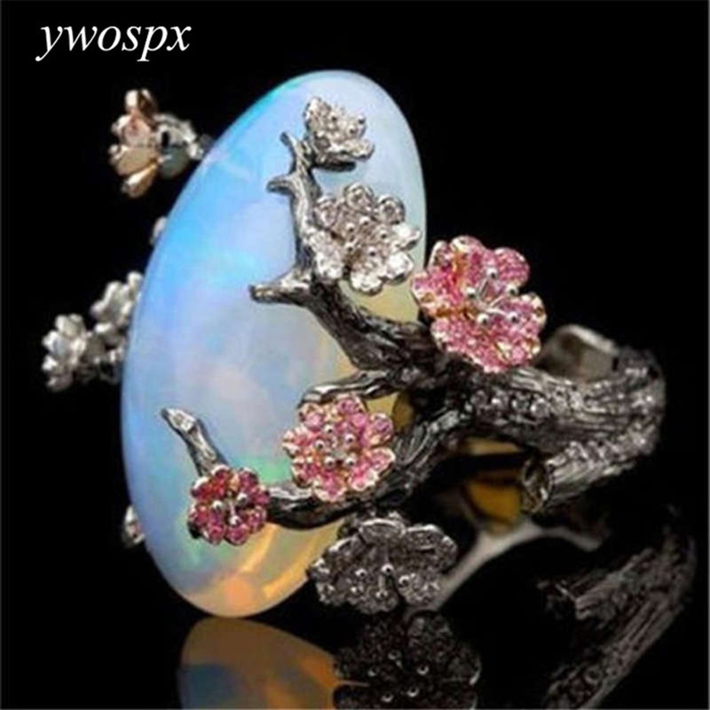YWOSPX Vintage Silver Color Ring White Fire Opal Flower Rings For Woman Gifts Wedding Engagement Statement Ring Size 5-11 Y40