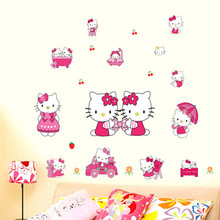 NieNie Wall Stickers Lovely PVC Hello Kitty Wall Sticker Home Decor  Removable Mural Stickers For Kids